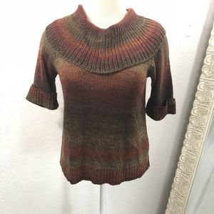d984c7af0cf56 ... Top 🐝 Ruby Rd Petite Ombré Cowl Neck Sweater SZ Small LINEAR - Red ...